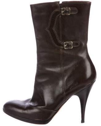 Oscar de la Renta Leather Pointed-Toe Boots