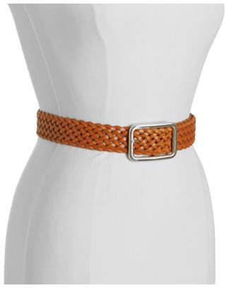 Calvin Klein honey brown woven leather basic belt