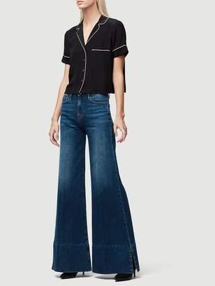 Frame Denim Short Sleeve Silk Pj Blouse Noir Multi