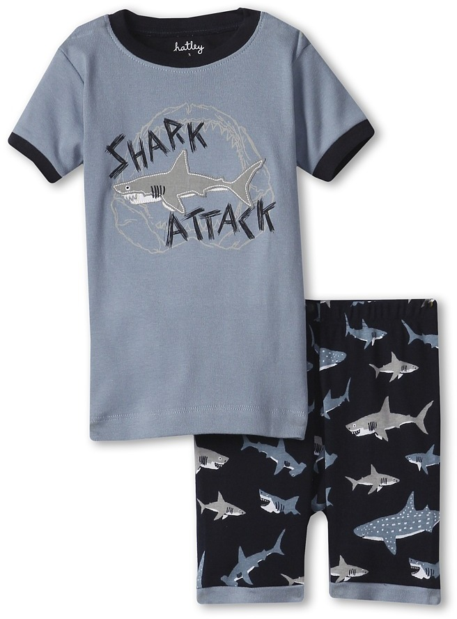 "Hatley Short PJ Set (Toddler/Little Kids/Big Kids) (Sharks ""Shark Attack"") - Apparel"