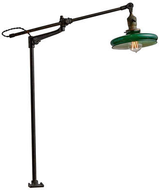 Rejuvenation Fully Adjustable O.C. White Clamp Lamp w/ Cased Green Shade