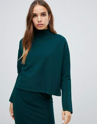 Noisy May high neck top with fine rib