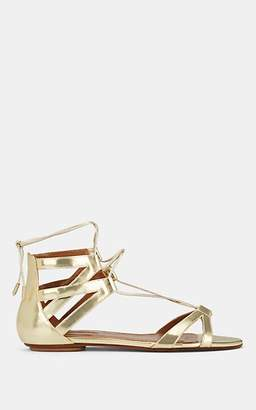 Aquazzura WOMEN'S BEVERLY HILLS METALLIC LEATHER ANKLE-TIE SANDALS - GOLD SIZE 10.5