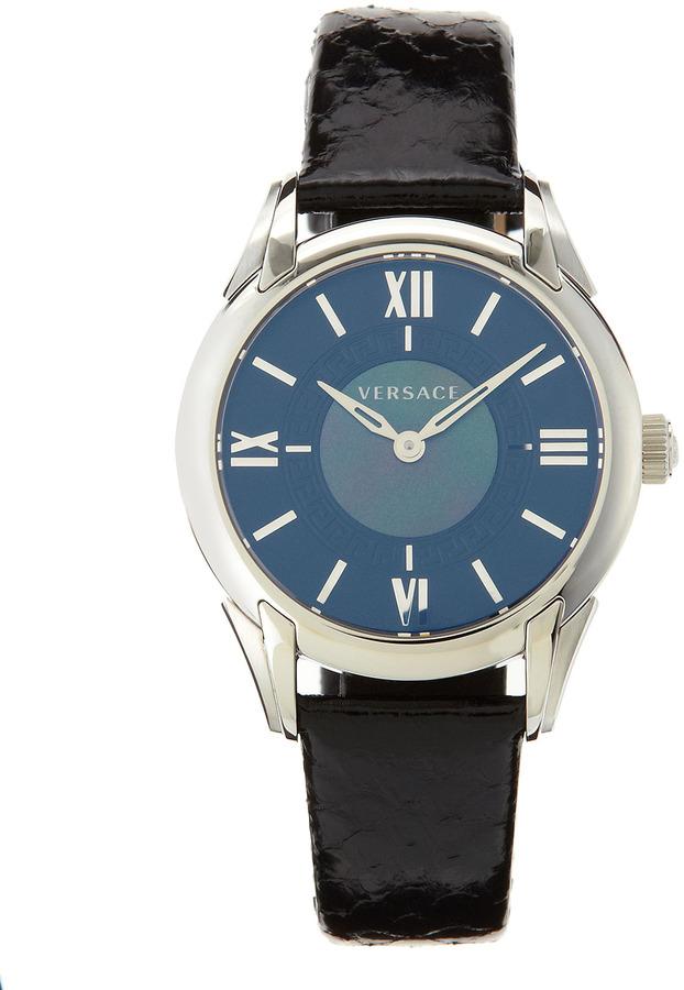 Versace Snakeskin-Strap Bracelet Watch, Black