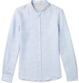 Brunello Cucinelli Slim-Fit Grandad-Collar Pinstriped Linen Shirt