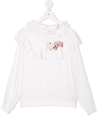 MonnaLisa ruffle trimmed jersey blouse