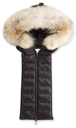 Veronica Beard Quilted Fur-Trim Hoodie Dickey, Black $495 thestylecure.com