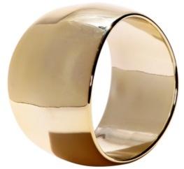 Gold Wide Curved Bangle Bracelet