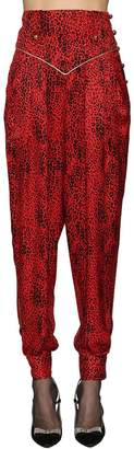 Leopard Silk Jacquard Harem Pants