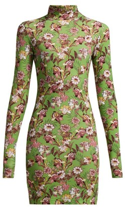 Vetements Floral Print Long Sleeved Mini Dress - Womens - Green Multi