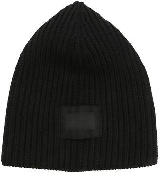 Prada Wool Rib Knit Beanie W/ Logo Patch