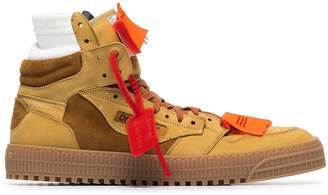 Off-White Camel Brown Court Side Leather Trainers