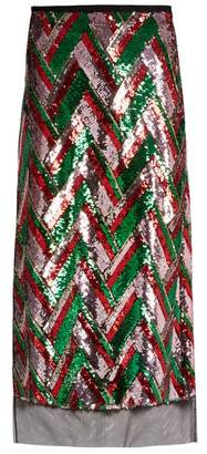 Gucci Sequin Embellished Chevron Midi Skirt - Womens - Red Multi