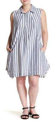 Sharagano Striped Linen Blend Shift Dress (Plus Size)