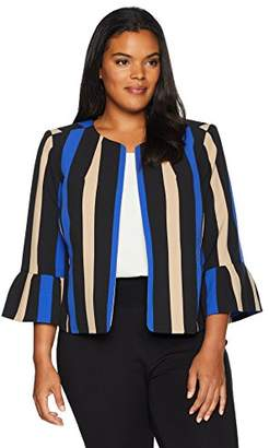 Nine West Women's Plus Size Printed Stripe Crepe Fly Away JKT with Flounce Sleeve