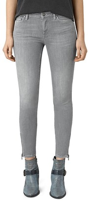 ALLSAINTS Mast Ankle Zip Skinny Jeans in Pale Grey $160 thestylecure.com