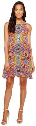 Taylor Floral Print Crepe Trapeze Dress Women's Dress