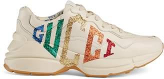 Gucci Rhyton glitter leather sneaker