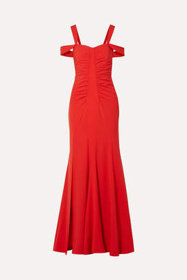 Halston Cold-shoulder Ruched Stretch-crepe Gown - Red