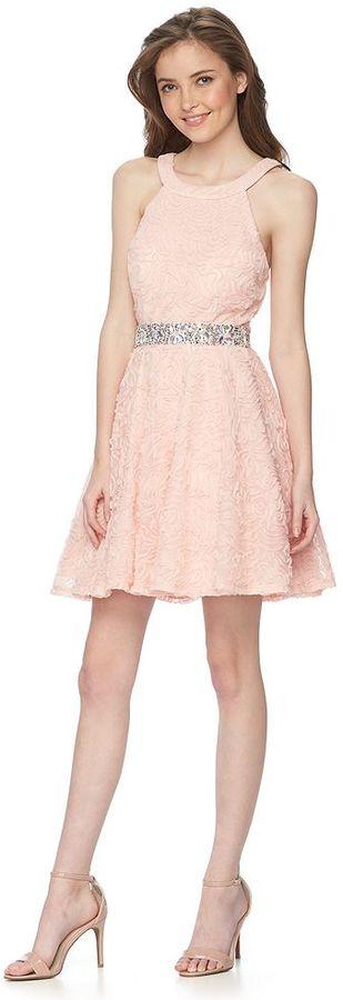 Juniors' Trixxi Soutache Halter Dress