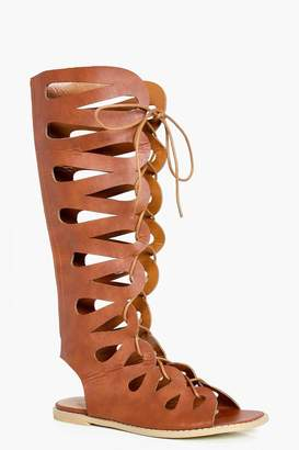 boohoo Lydia Ghillie Lace Up Gladiator Knee High Sandals