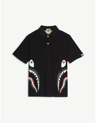 A Bathing Ape Shark motif camouflage cotton polo shirt 4-8 years