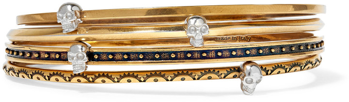 Alexander McQueenAlexander McQueen Set of four gold-tone embellished bracelets