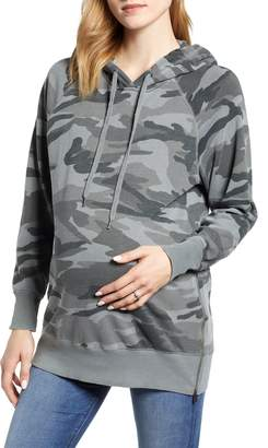 Splendid Camo Hooded Maternity Sweatshirt