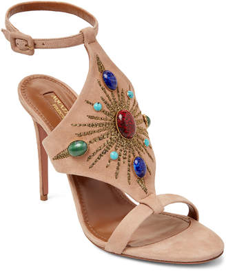 Aquazzura Biscotto Desert Sun Embellished High Heel Sandals
