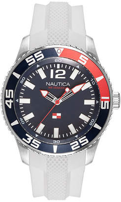 Nautica Men NAPPBP905 Pacific Beach White/Navy Silicone Strap Watch
