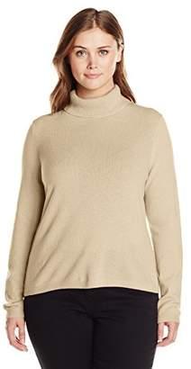 Lark & Ro Women's Plus-Size 100% Cashmere Slim-Fit Turtleneck Sweater