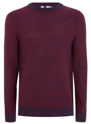 Topman Mens Burgundy And Navy Stripe Textured Sweater