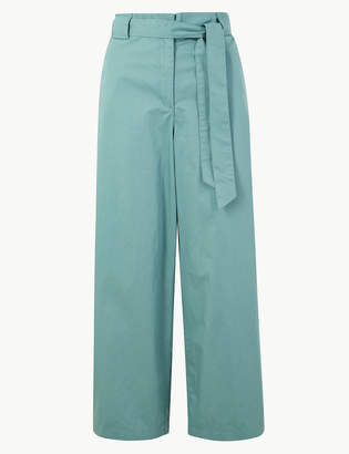 Marks and Spencer Pure Cotton Wide Leg Ankle Grazer Trousers