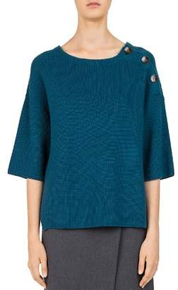 Gerard Darel Clémence Merino-Wool Button-Shoulder Sweater