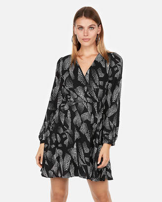 Express Petite Print Surplice Fit And Flare Dress