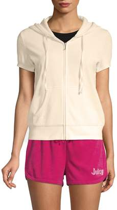 Juicy Couture Micro-Terry Short-Sleeve Hoodie