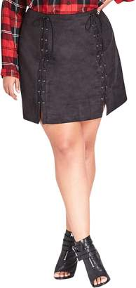 City Chic Lace-Up Faux Suede Miniskirt