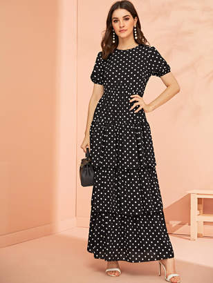 Shein Polka Dot Print Layered Dress