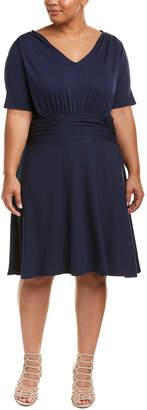 Three Dots Plus Shirred Shift Dress