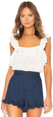 1 STATE Ruffled Edge Square Neck Ruffle Top