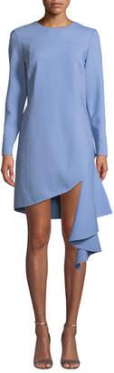 Oscar de la Renta Long-Sleeve Jewel Neck Cascading-Hem Dress
