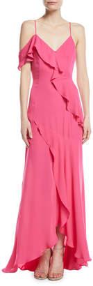 Neiman Marcus Parker Black Emilia Asymmetric Ruffle High-Low Gown