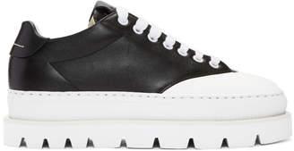 MM6 MAISON MARGIELA Black Leather Platform Sneakers