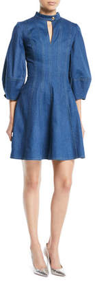 Oscar de la Renta Slit-Neck 3/4 Pouf-Sleeve Fit-and-Flare Denim Dress