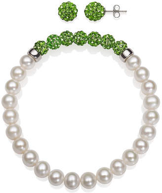 FINE JEWELRY 6-7Mm Cultured Freshwater Pearl And 6Mm Green Lab Created Crystal Bead Sterling Silver Earring And Bracelet Set