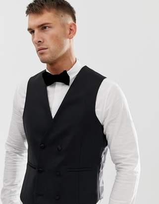 Asos Design DESIGN slim tuxedo suit vest in black 100% wool