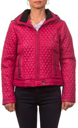 Pink Platinum Junior Plus Size Diamond Quilted Polyfill Jacket with Hood and Knit Collar