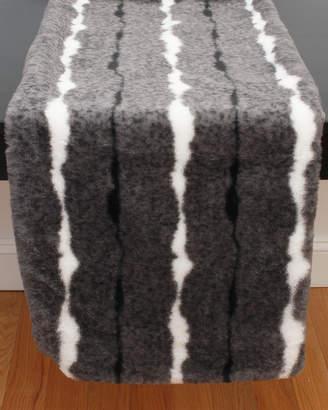 """Thro 16"""" x 80"""" Striped Faux Fur Table Runner"""