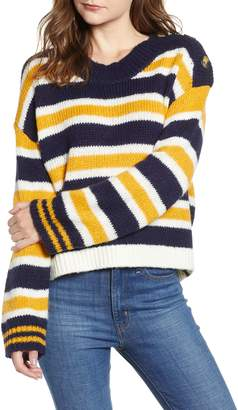 BP Button Shoulder Stripe Sweater