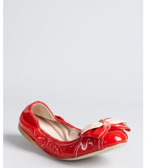 Miu Miu Miu poppy patent leather rose bow ballet flats